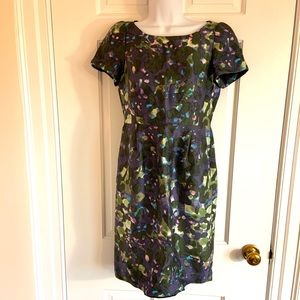 J Crew Watercolor silk dress 4 lined short sleeve